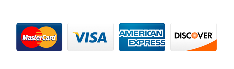 MasterCard VISA AmEx Discover accepted